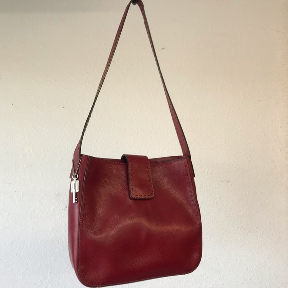 Fossil Handbags - Fossil Red Leather Tote